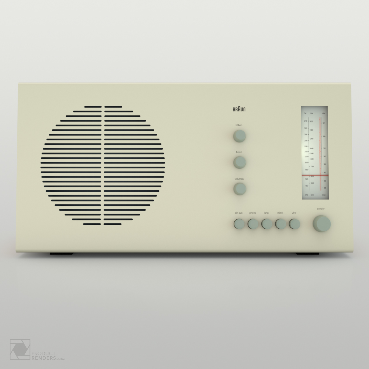 3D product render of a Braun RT20 radio designed by Dieter Rams in 1961 - Front
