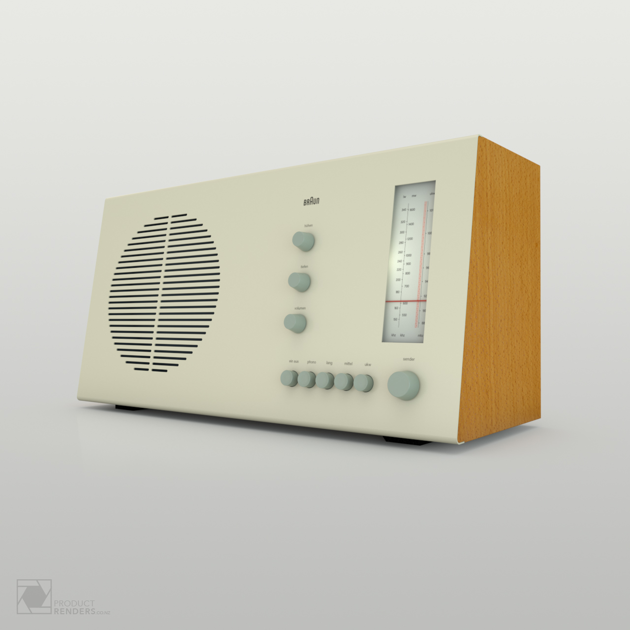 3D product render of a Braun RT20 radio designed by Dieter Rams in 1961 - Right hand side.