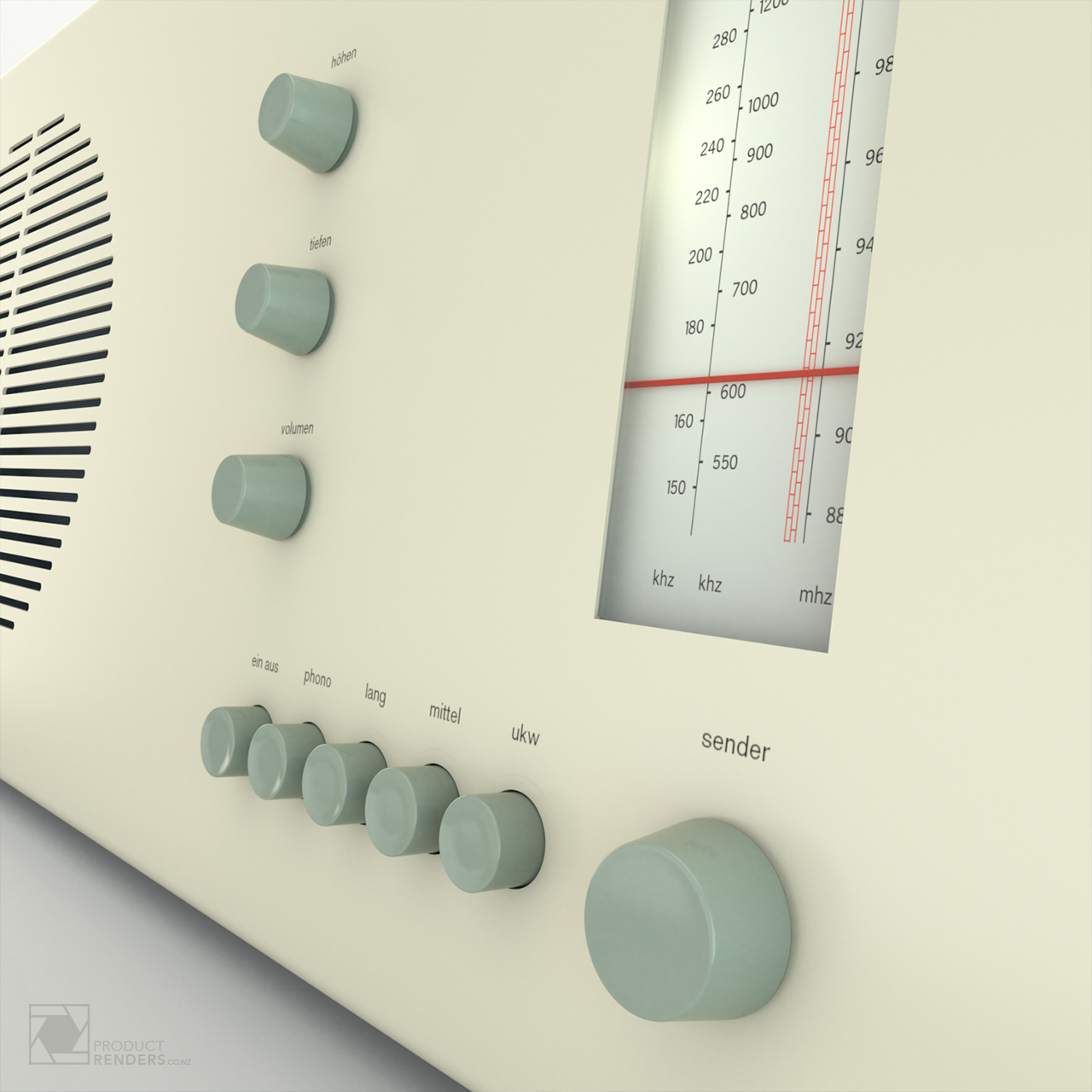 3D product render of a Braun RT20 radio designed by Dieter Rams in 1961 - Close up of the buttons and dial