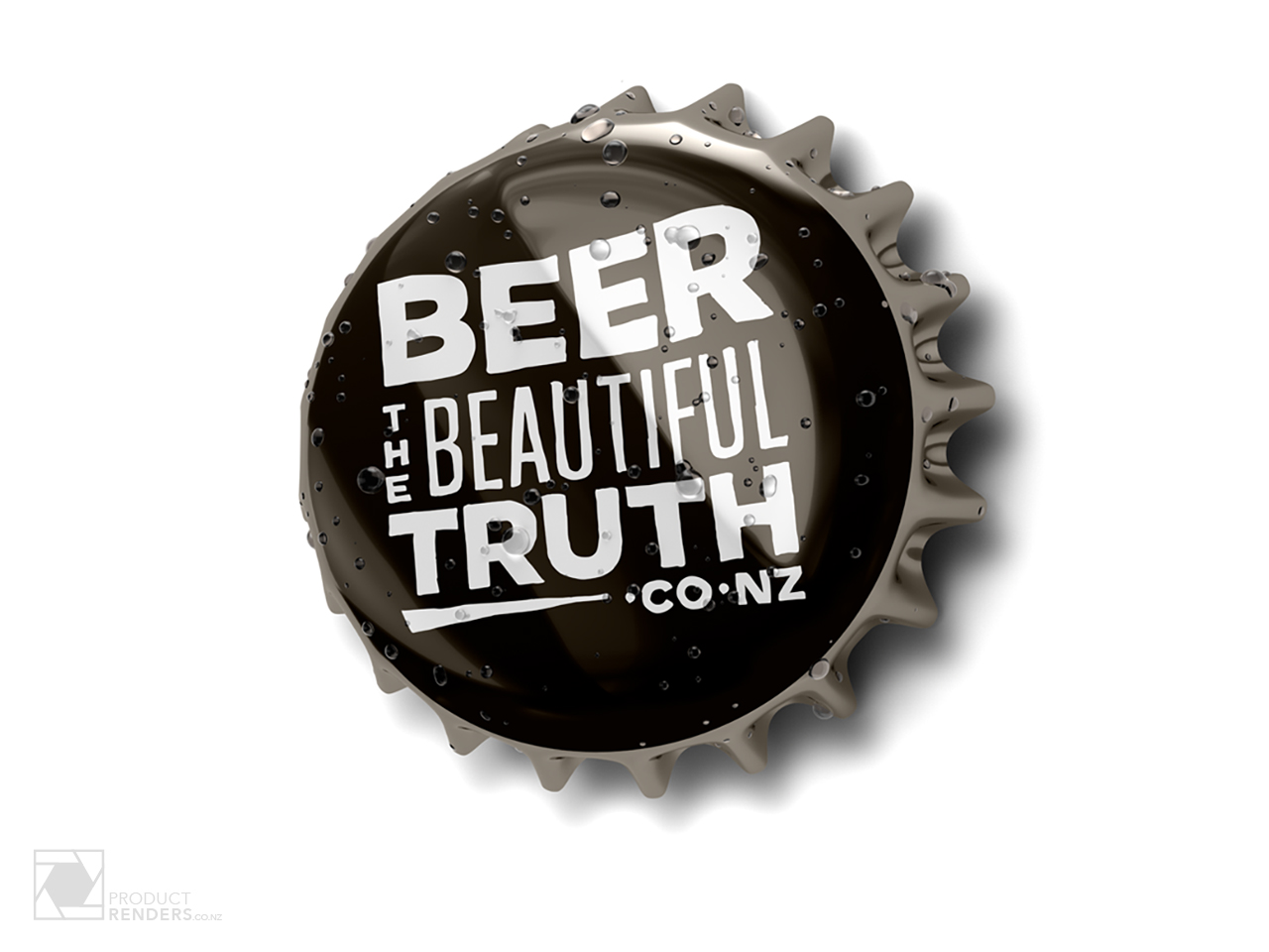 3D render of a used beer cap for Beer The Beautiful Truth advertising campaign