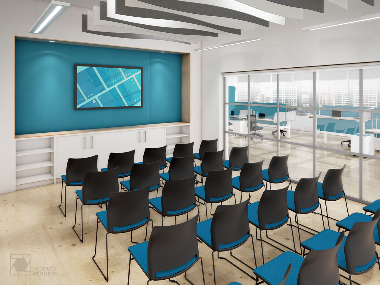 3D render of a training room inside an office showroom