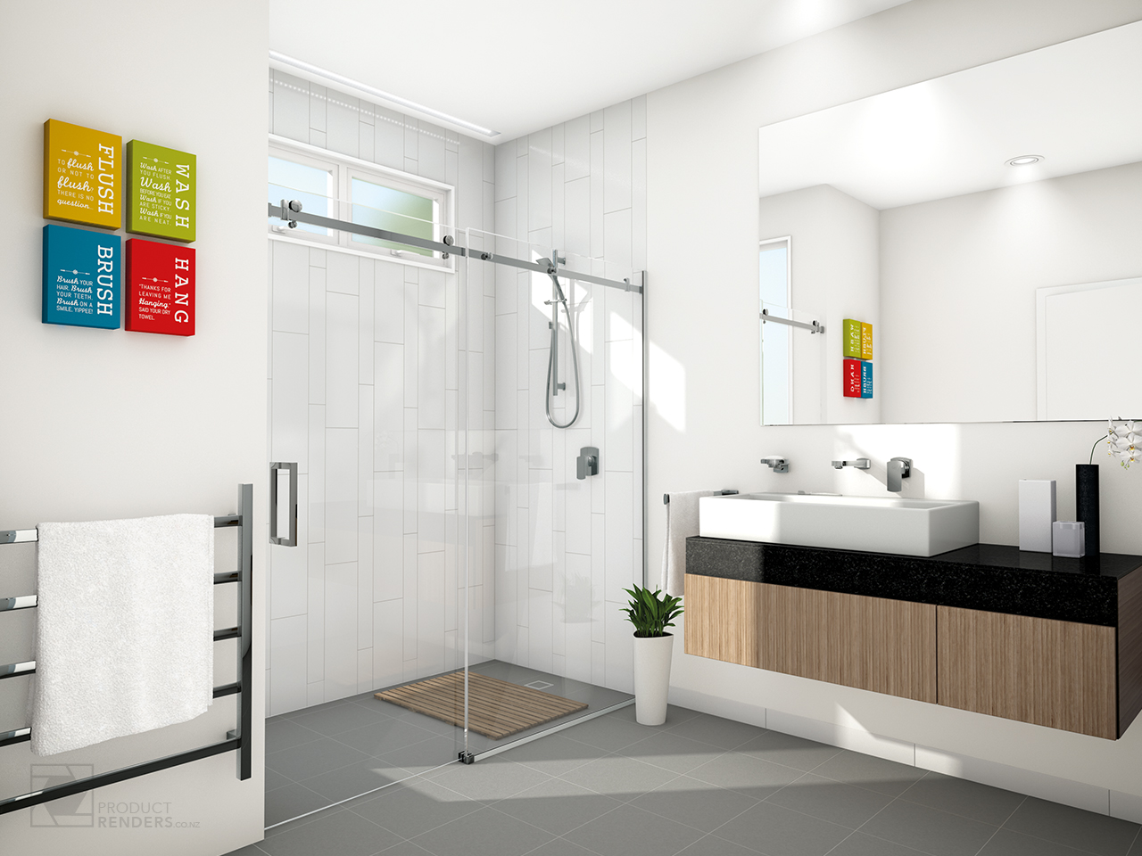3D render of a bathroom to show options available from MetroGlass