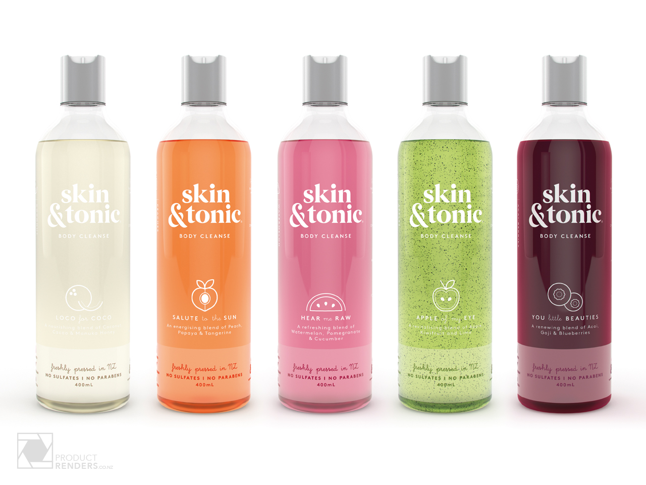 3D packaging render of the Skin & Tonic's range of body cleansers