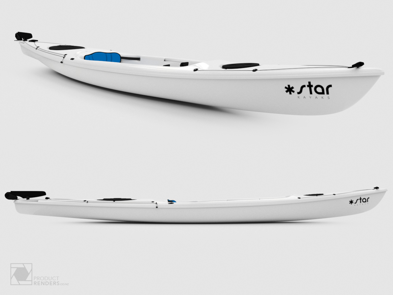 3D render of white Star Kayaks