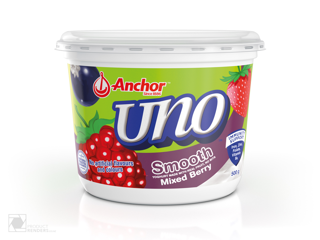 3D render of an Anchor Uno Mixed Berry yoghurt tub packaging.