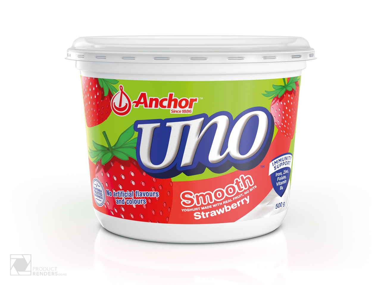 3D render of an Anchor Uno Strawberry yoghurt tub packaging.