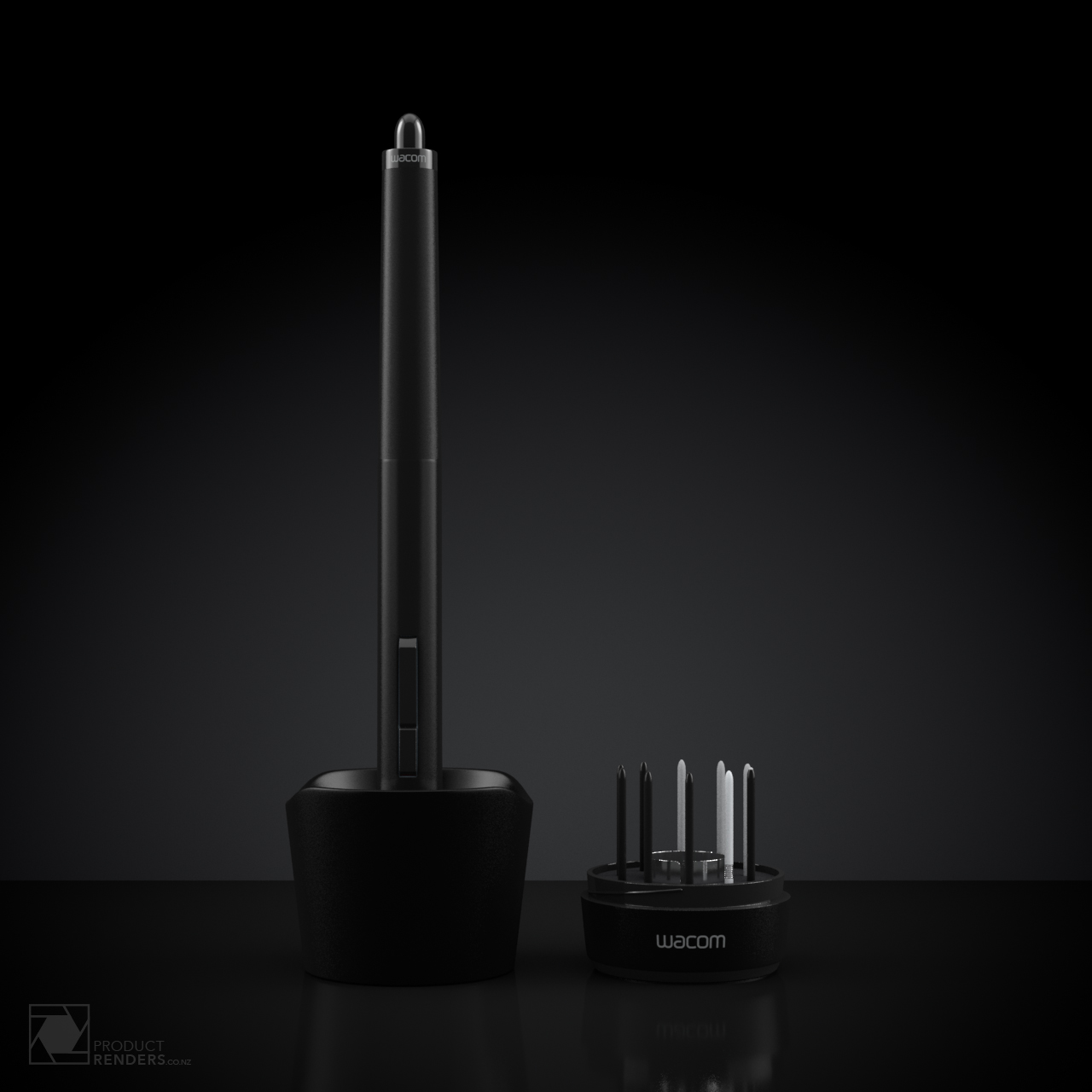 3D render of a Wacom 4 pen and open stand showing spare nibs and nib removal tool