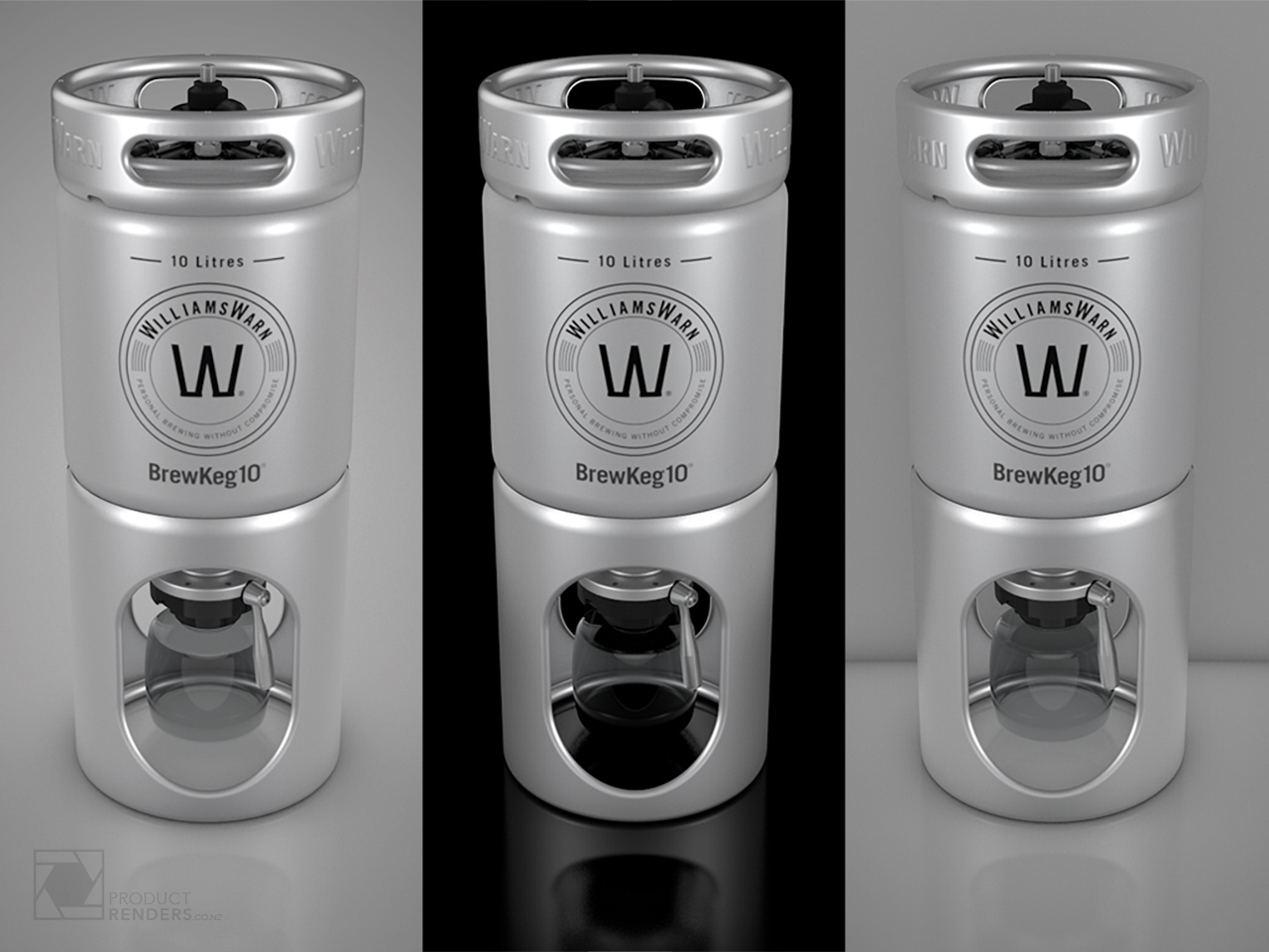 3D render of a WilliamsWarn BrewKeg 10 on different backgrounds