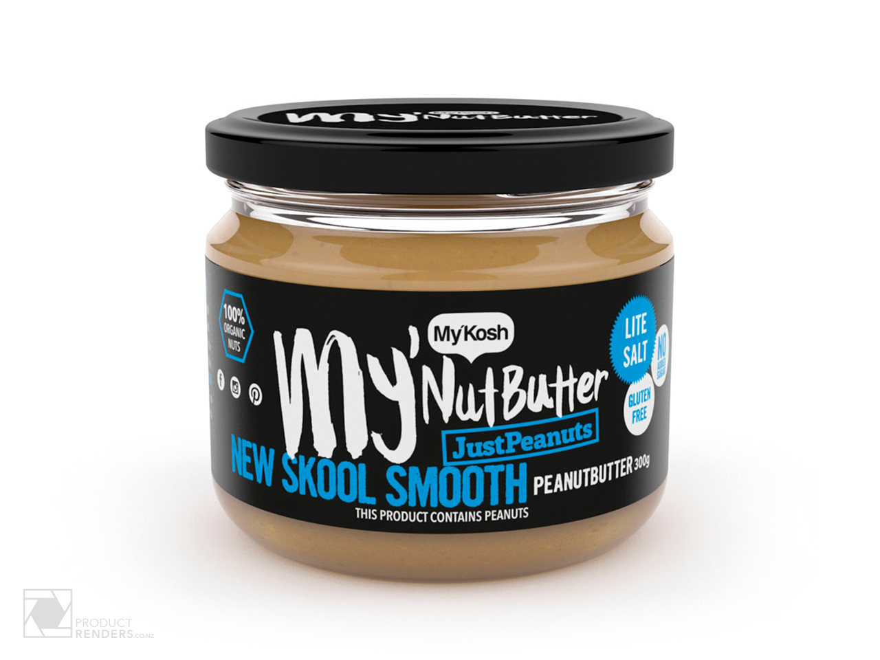 3D packaging render of MyKosh's MyNutButter JustNutSmooth