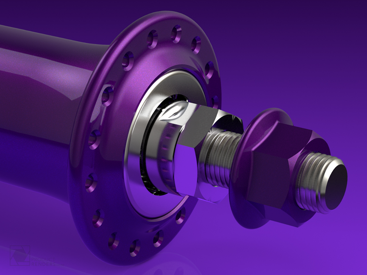 Close up 3D render of a bicycle wheel hub
