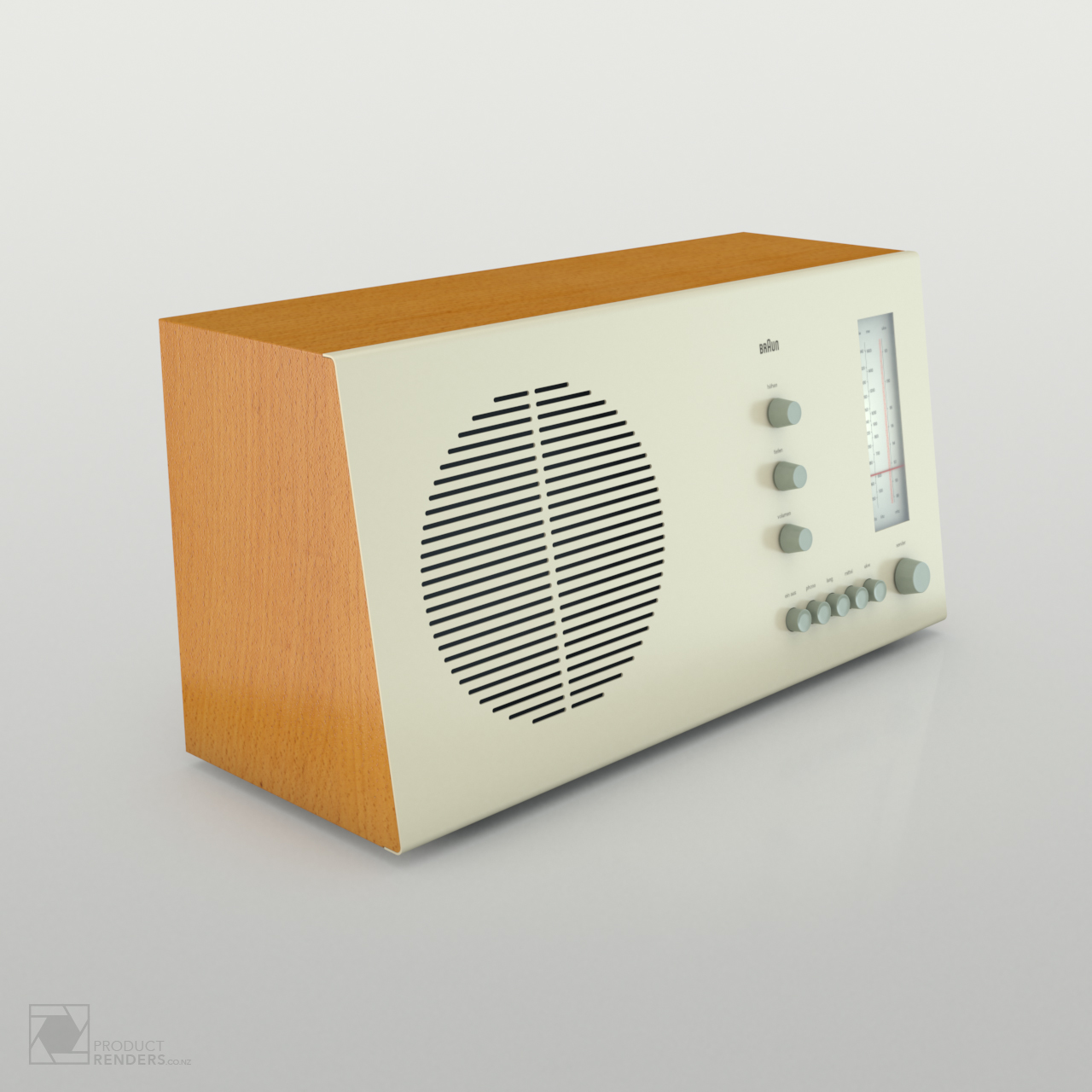 3D product render of a Braun RT20 radio designed by Dieter Rams in 1961 - Left hand side.