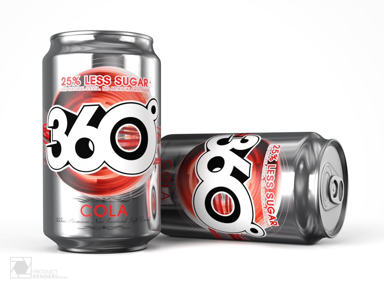 3D render of two cans of 360-degree cola