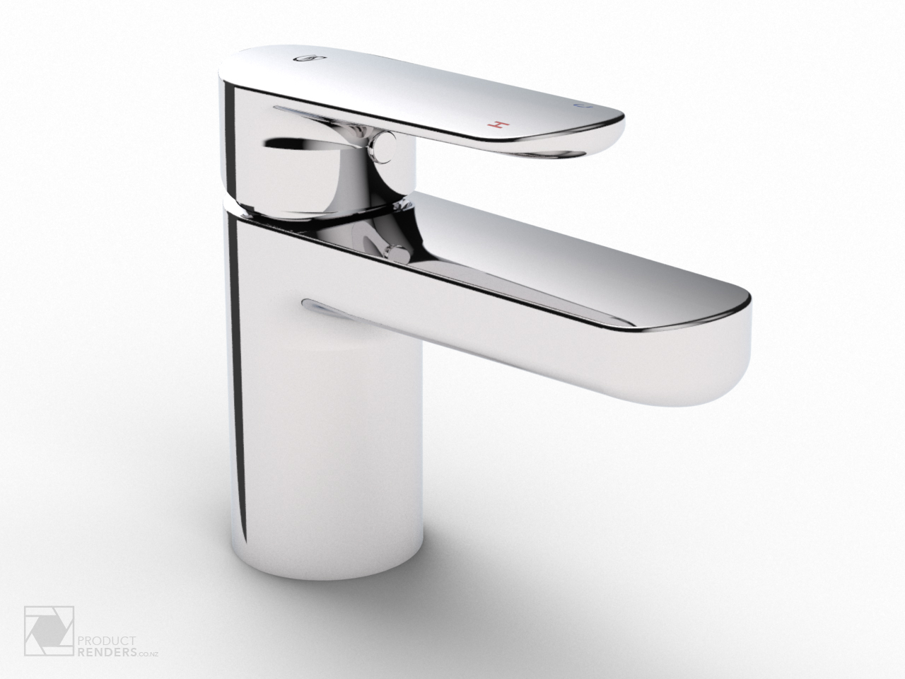 3D render of a chrome bathroom tap
