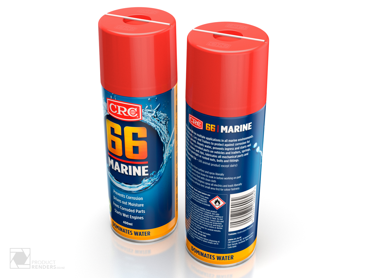 3D packaging render of CRC's 66Marine product