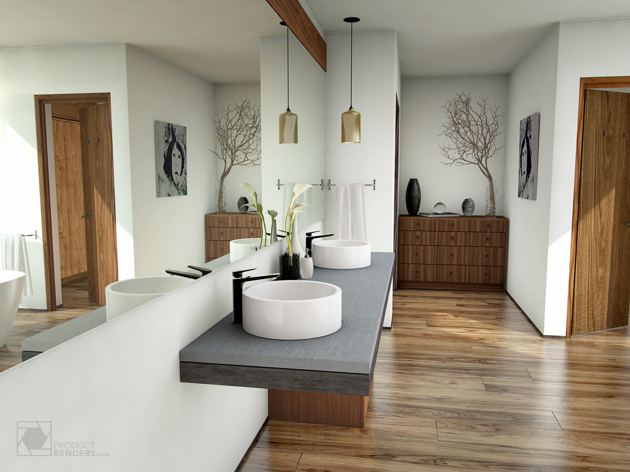 3D render of a bathroom to showcase Foreno tapware