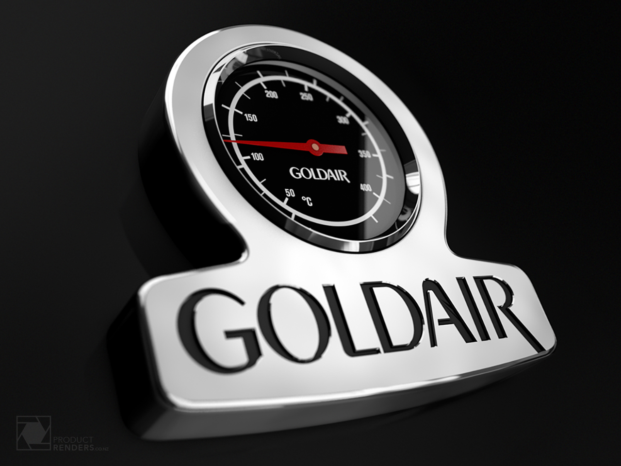 3D render of a GoldAir BBQ thermometer for use in advertising material