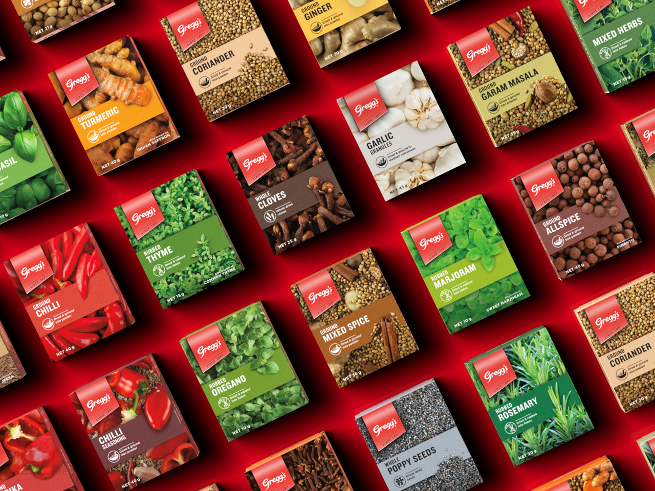 3D packaging render of Greggs' Chilli range of herbs & spices