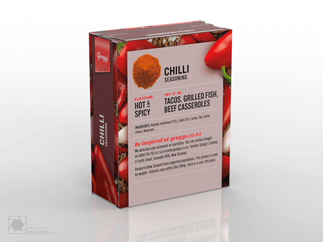 3D packaging render of Greggs' Chilli Seasoning from their herbs & spices range