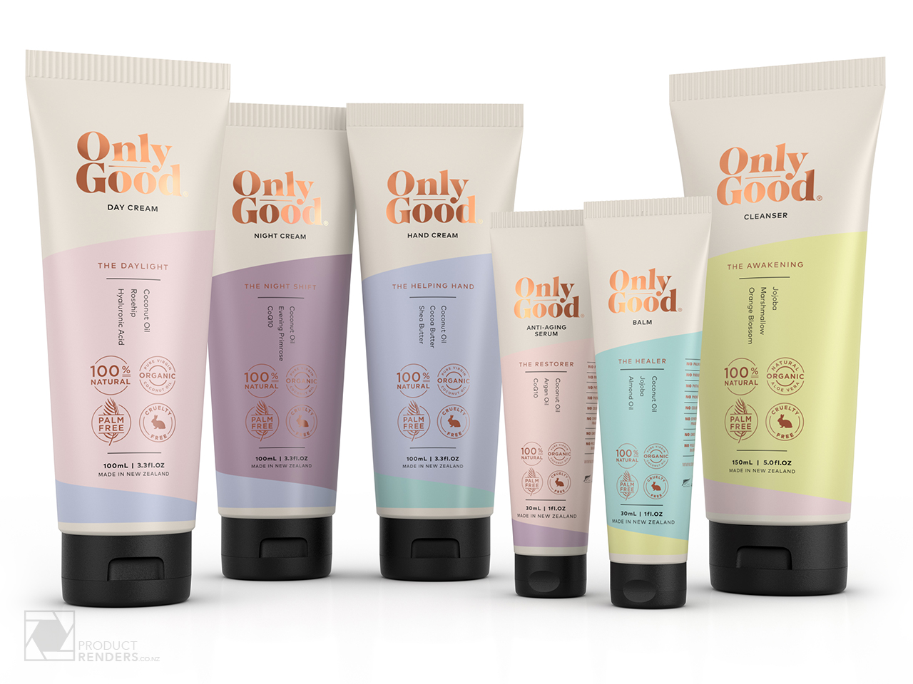 3D packaging render of the OnlyGood range of body creams