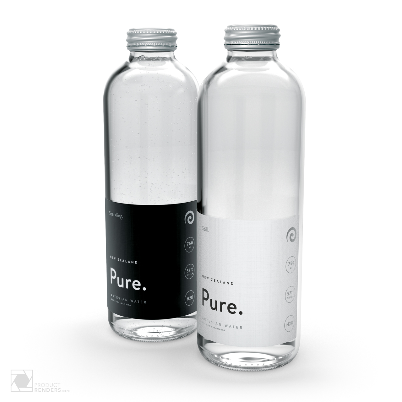 3D render of Pure's Artesian still & sparkling water bottles