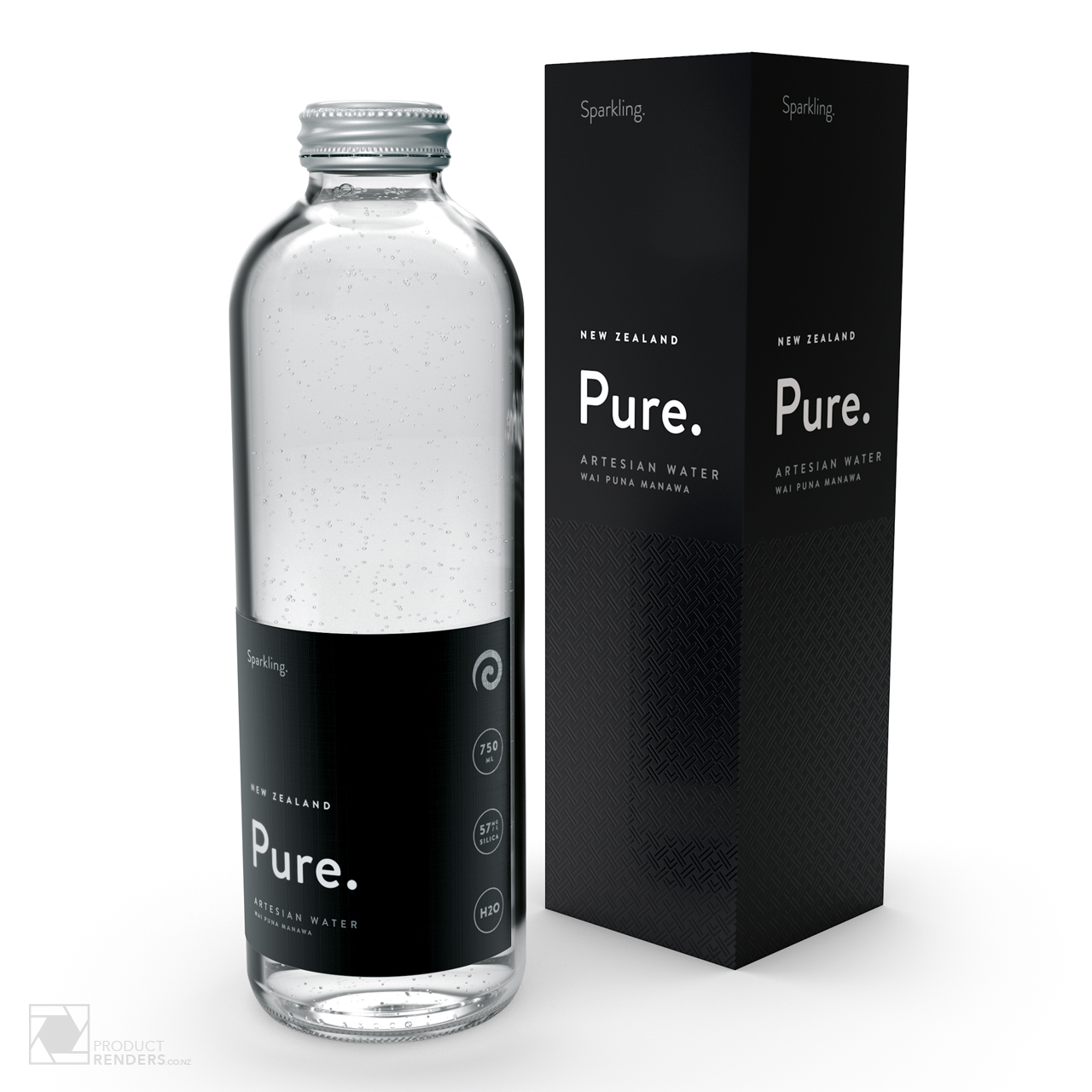 3D render of Pure's Artesian sparkling water packaging