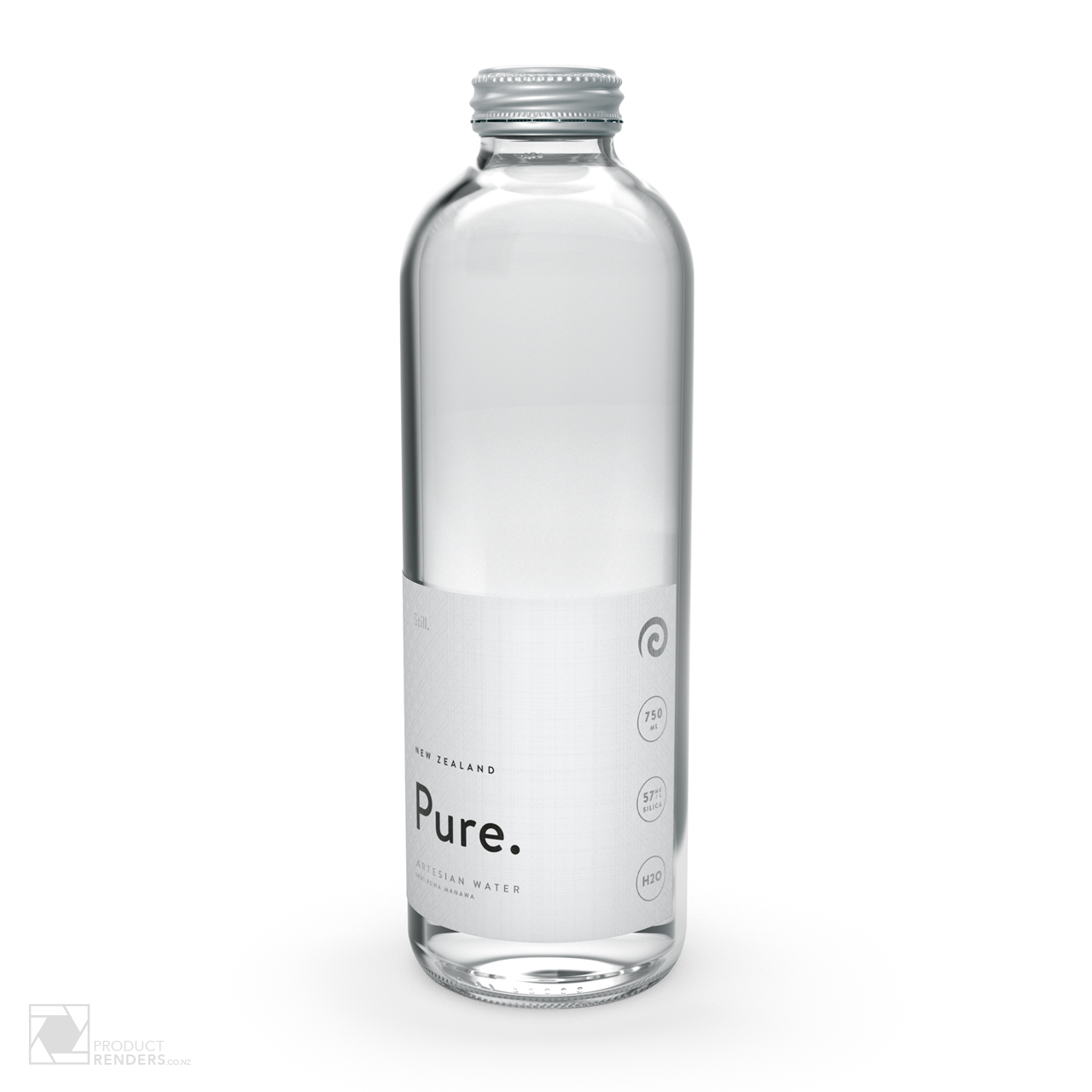 3D render of Pure's Artesian still water bottle