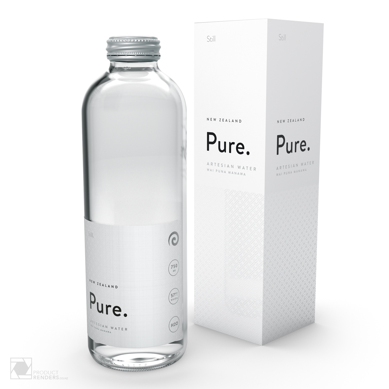 3D render of Pure's Artesian still water packaging