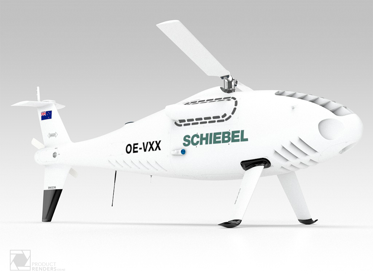 3D render of a Schiebel S-100 Camcopter