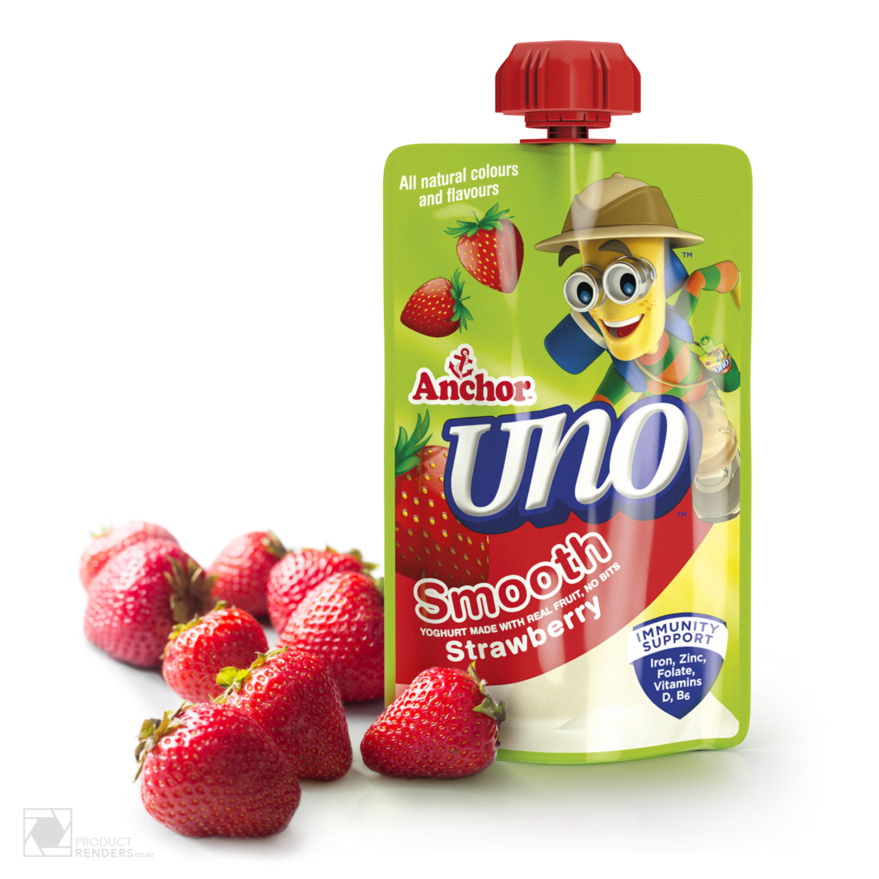 3D render of Anchor Uno's strawberry packaging pouch