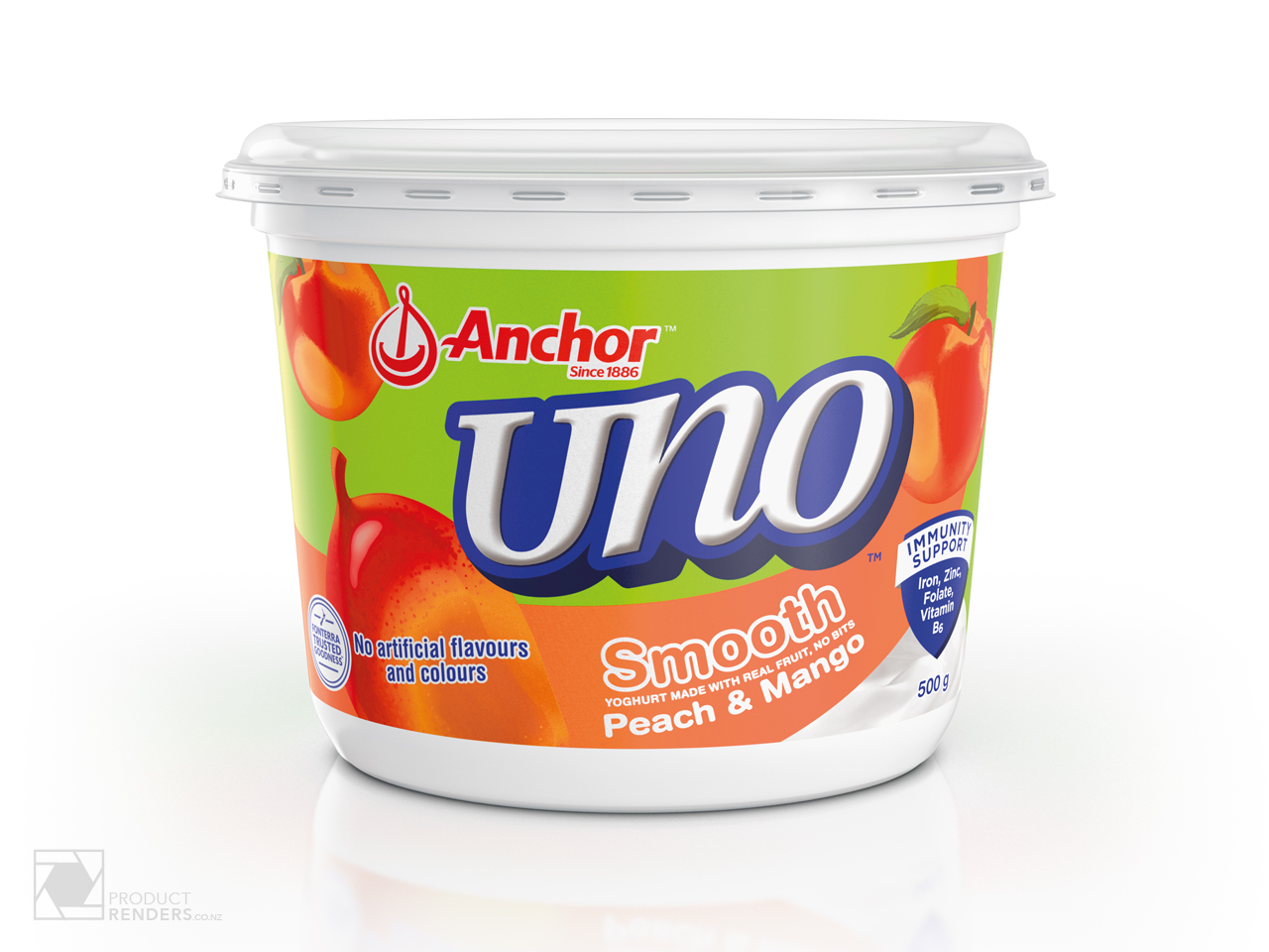 3D render of an Anchor Uno Peach & Mango yoghurt tub packaging.