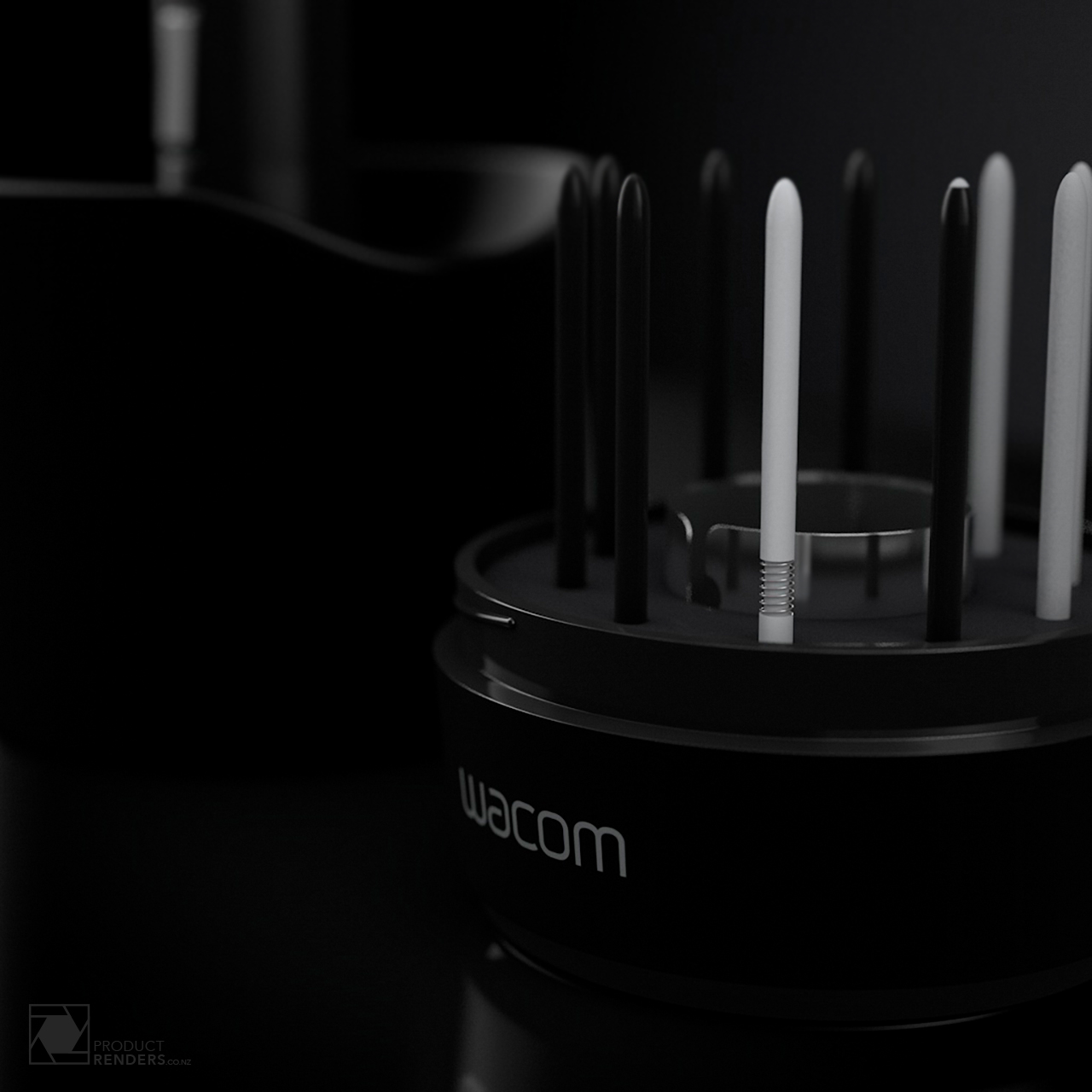 3D render of a Wacom 4 pen stand with spare nibs and nib removal tool
