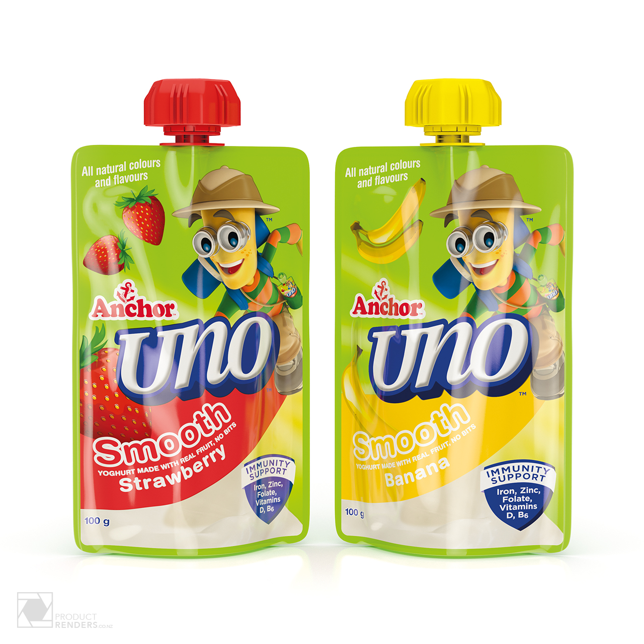 3D render of Anchor Uno's strawberry & banana yoghurt packaging pouch