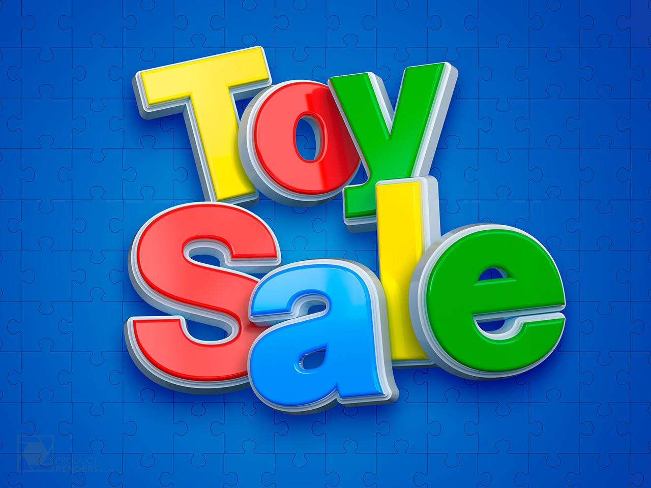3D render of the logo for the yearly toy sale at the Farmers retail store