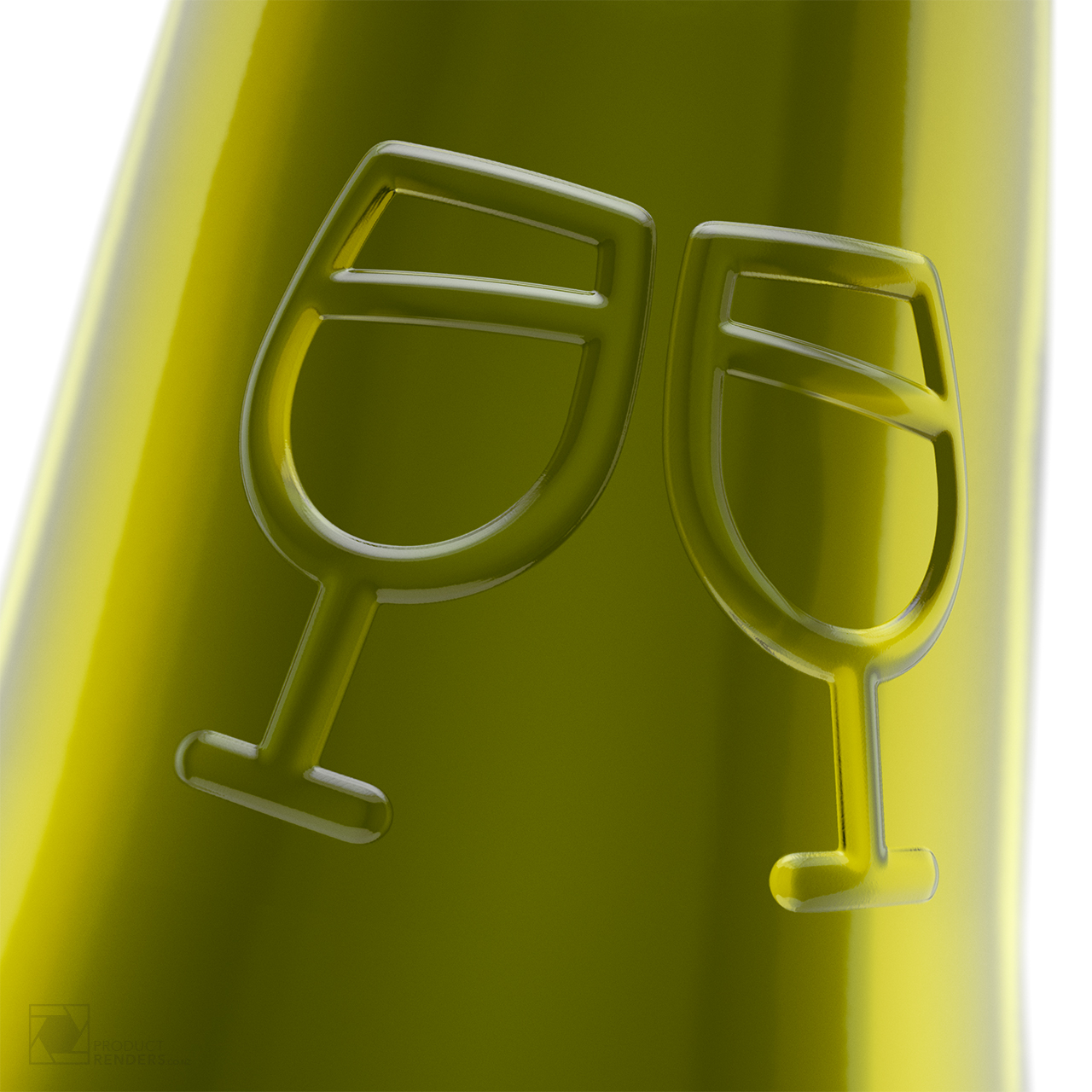 3D render of the neck of a Little Fox Wine Bottle (white) manufactured by i-o Glass