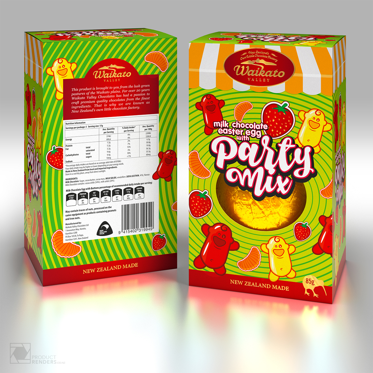 3D packaging render a Waikato Valley Milk Chocolate Party Mix Easter Egg