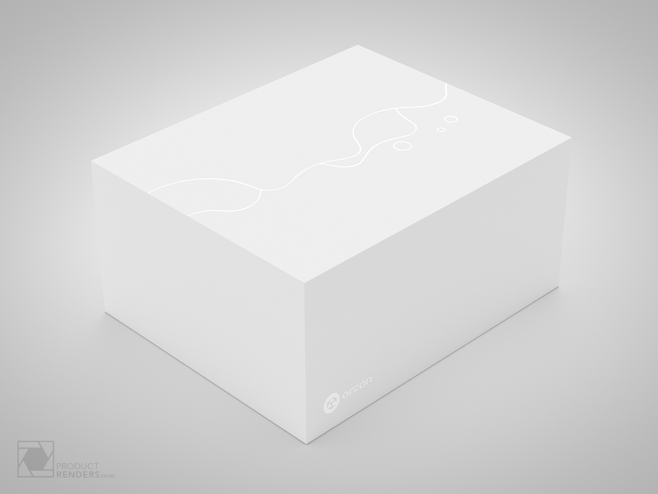 3D render of the closed Orcon modem packaging designed by ThinkPackaging