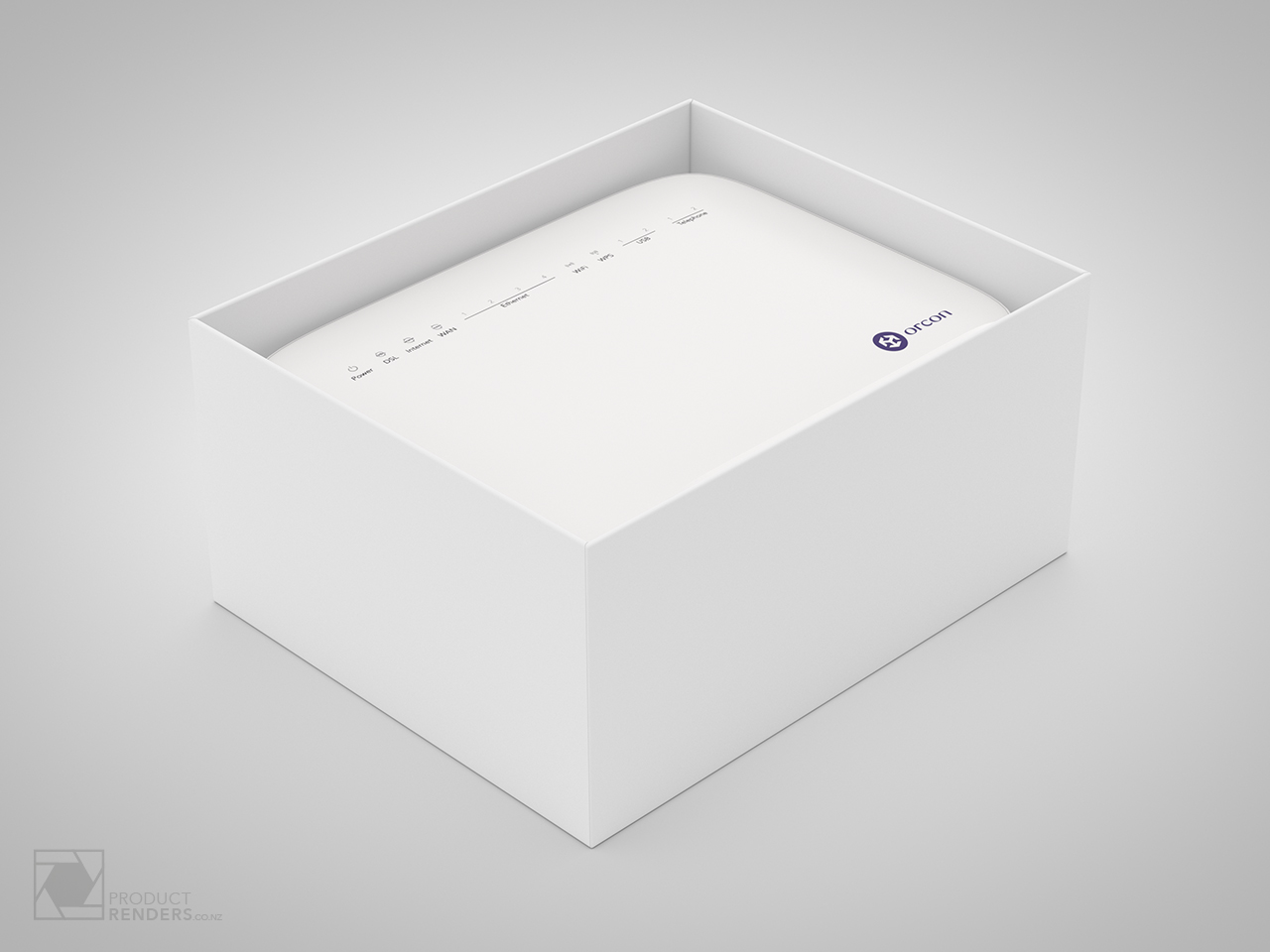 3D render of the opened Orcon modem packaging box showing the modem router inside