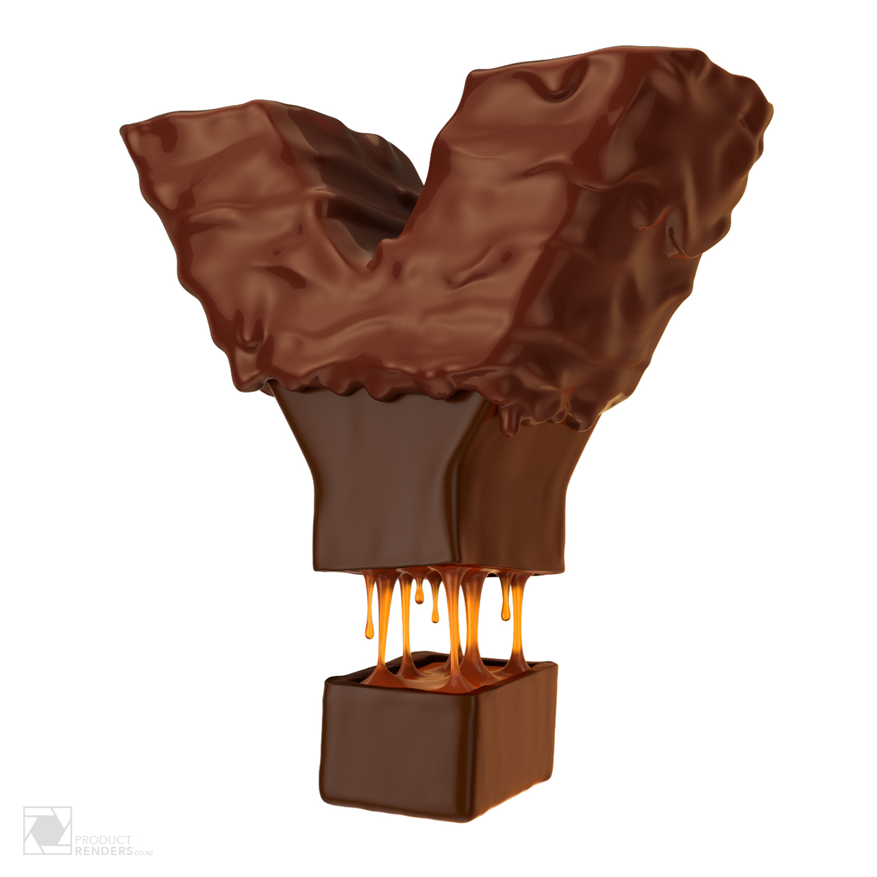 3D type render of a chocolate Y covered in runny chocolate sauce with a caramel centre. This render is part of a YUMMY 3D text render.