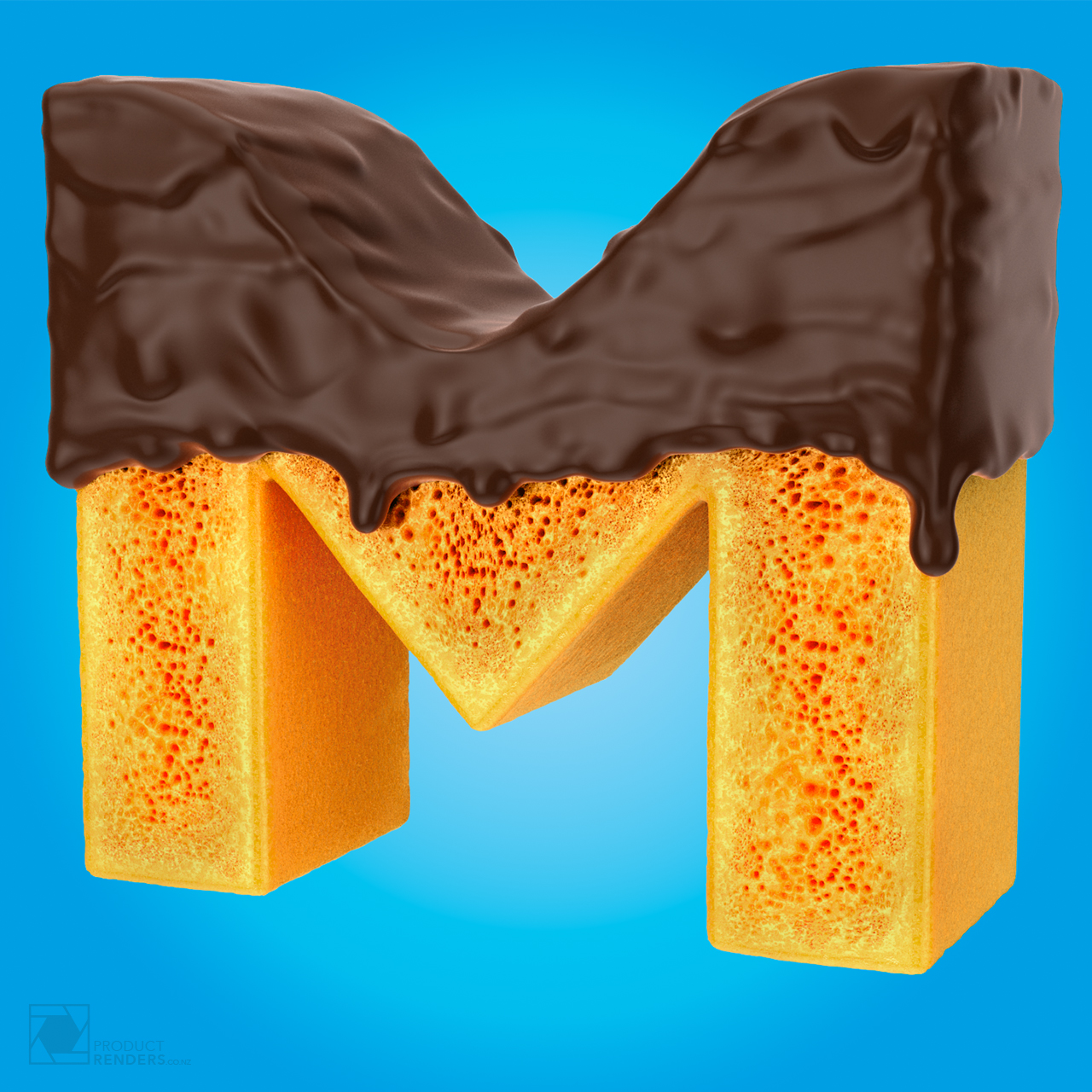 3D type render of a honeycomb M covered in runny chocolate sauce. This render is part of a YUMMY 3D text render.