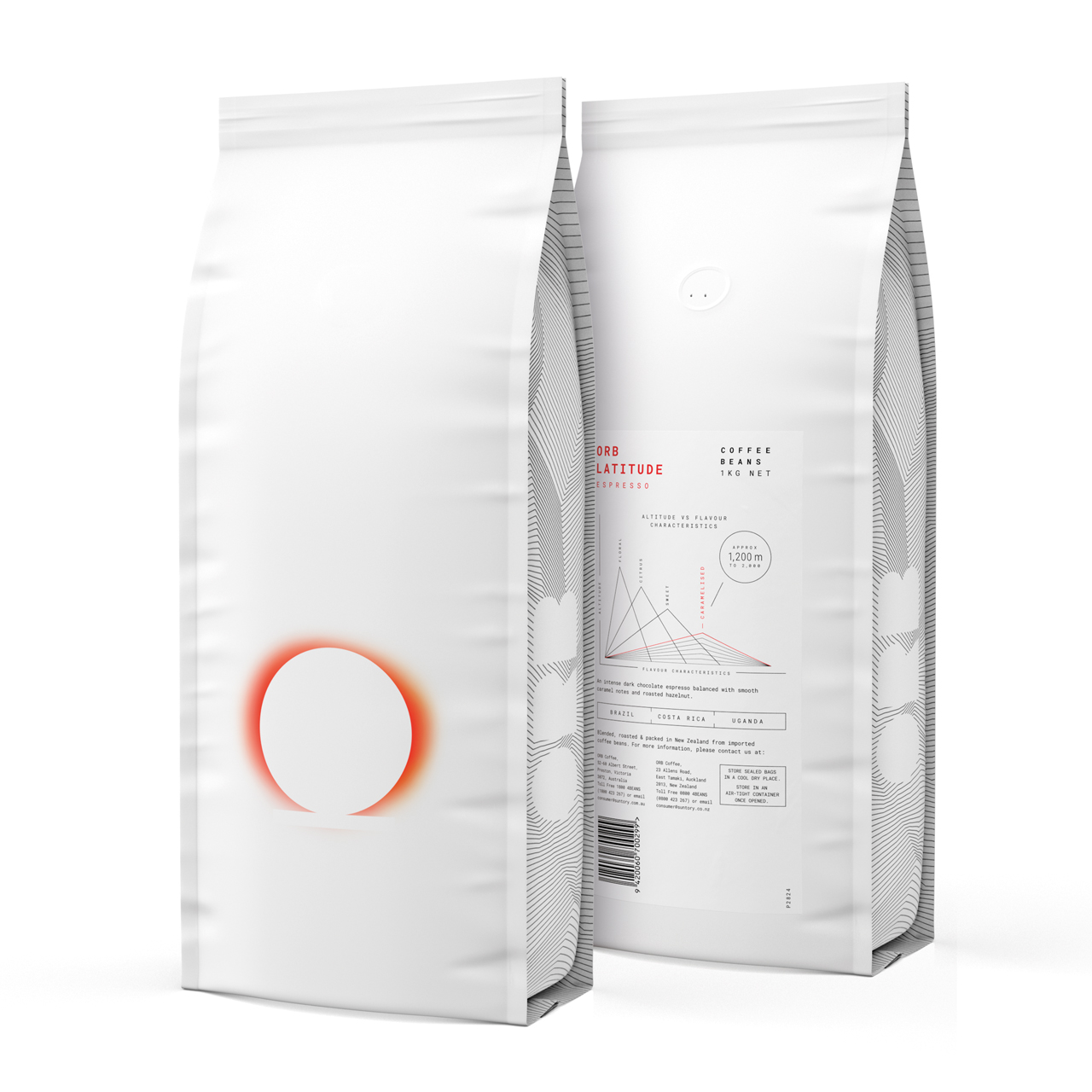 Orb Espresso Coffee 1kg Bag Render