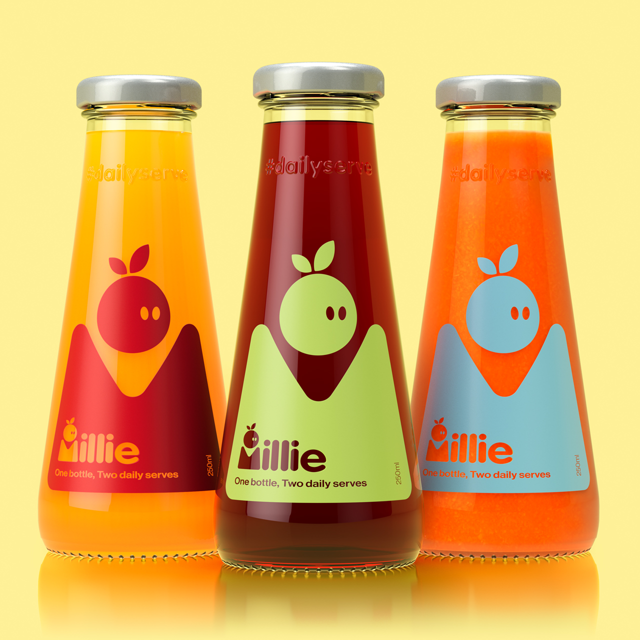 3D render of three Millie 250mL two servings glass bottles manufactured by i-o Glass