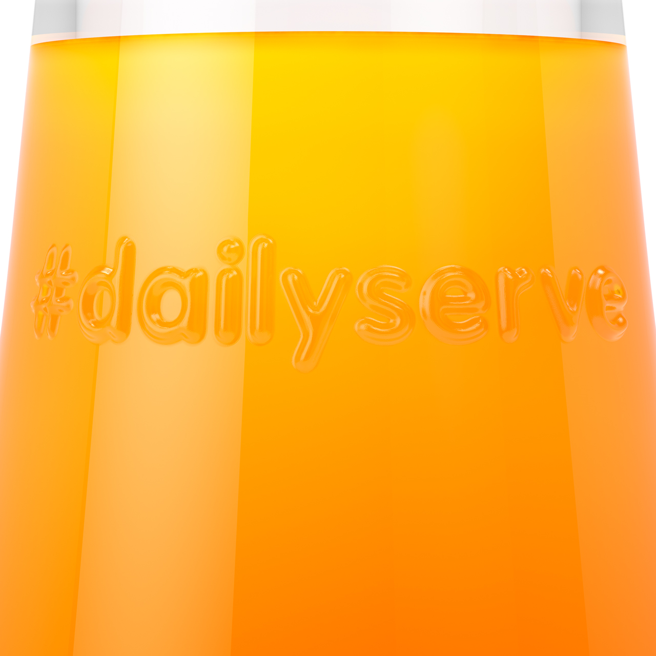 Close up 3D render of a Millie 250mL two servings glass bottle manufactured by i-o Glass