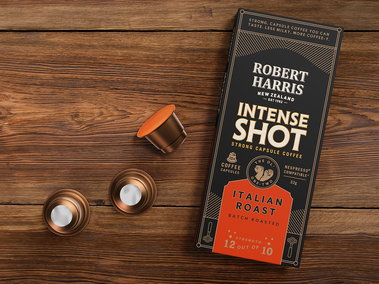 3D render of the new Intense Shot Nespresso coffee capsules from Robert Harris