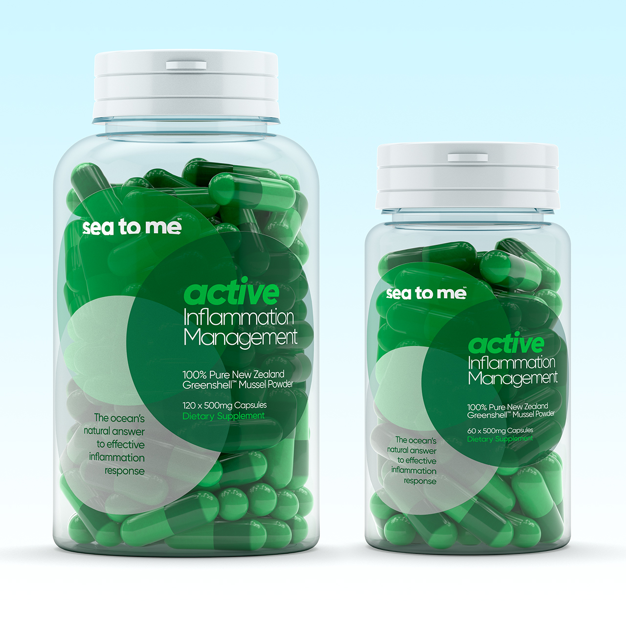 3D render of sea to me's greenshell mussel powder capsules