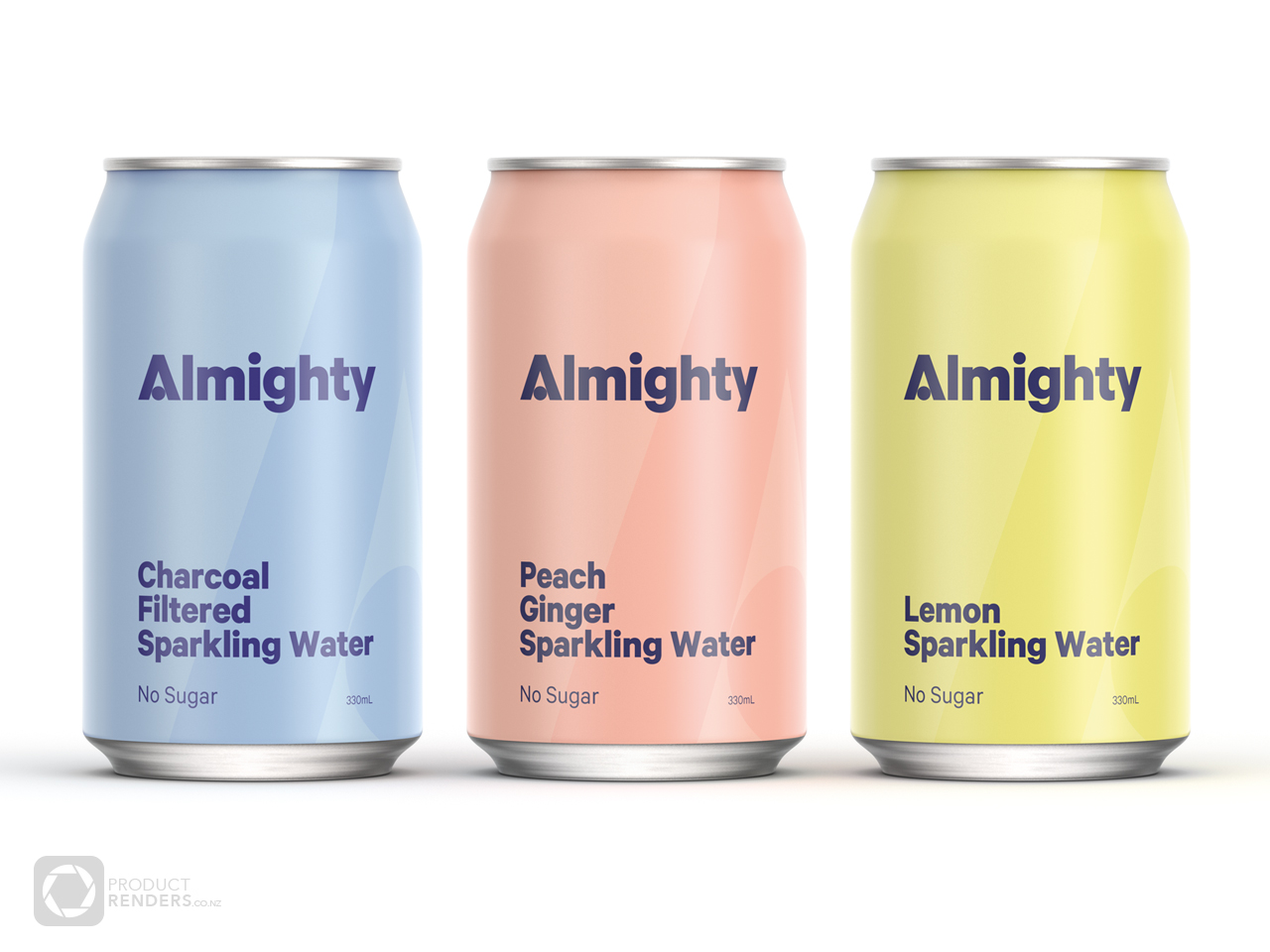 3D render of the new Almighty Spring Water drinks cans